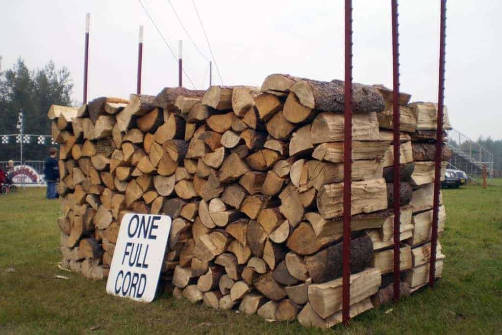 Image of a full cord of stacked firewood