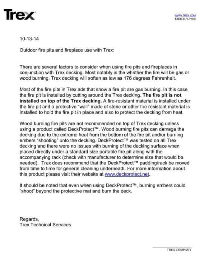 Image of trex letter endorsing the deckprotect fire pit barrier