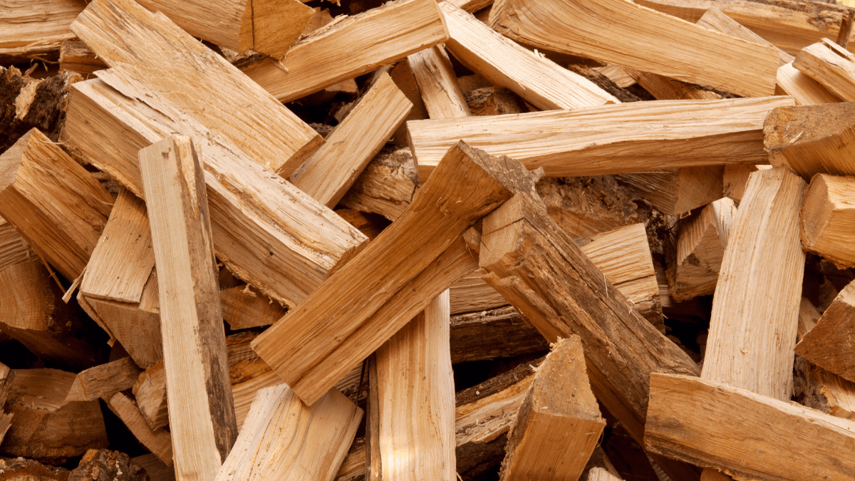 Image of a new pile of kiln dried firewood ready for a fire pit