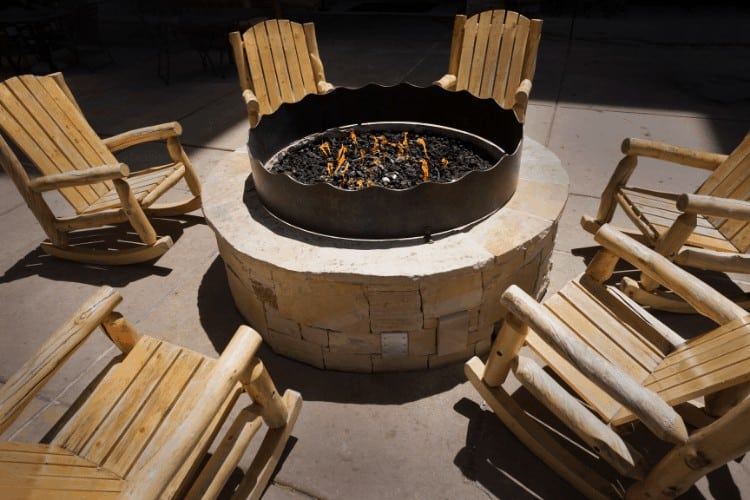 Image of gas fire pit and chairs