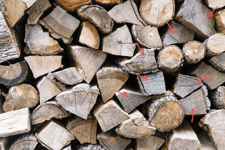 Image of a stack of well seasoned firewood