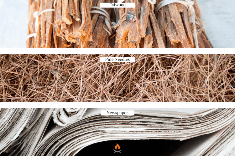 Image of three types of tinder used when asking how to start a fire pit fire; fatwood, dry pine needles, and newspaper