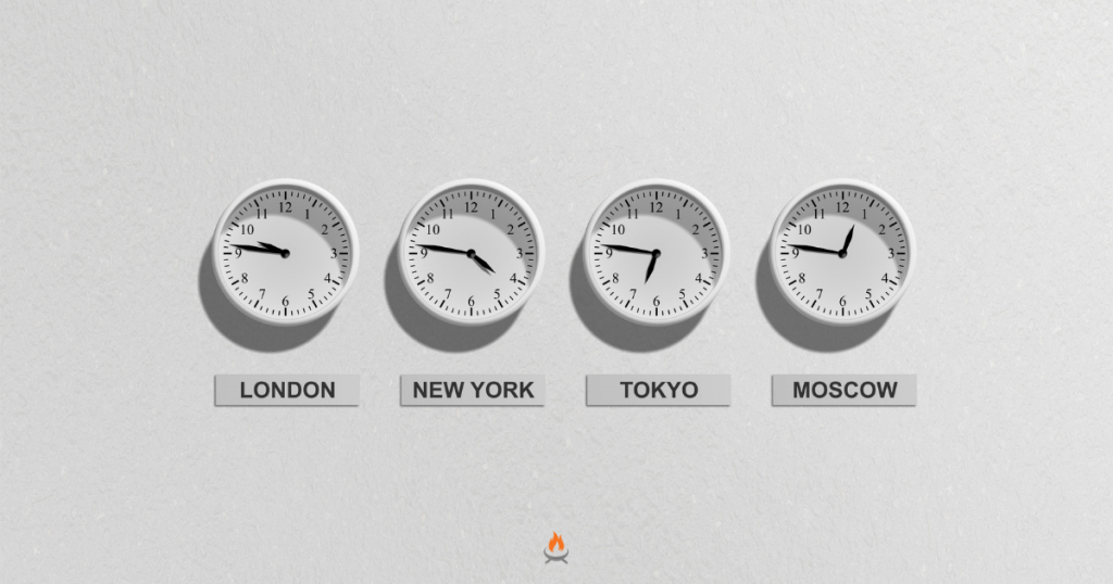 Image of four clocks showing international time