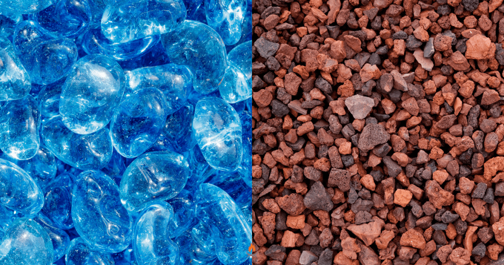 Image of fire pit fireglass and lava rock side-by-side